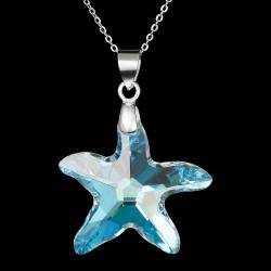 Large Swarovski Crystal Sea Star Silver Pendant