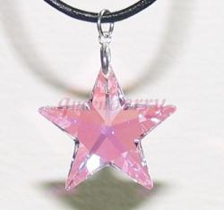 Pink AB-Coated Swarovski Star Silver Pendant