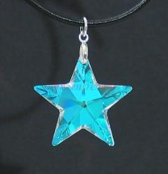 AB-Coated Clear Swarovski Star Silver Pendant