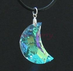 New Moon Pendant: Clear AB-Coated Swarovski Crystal