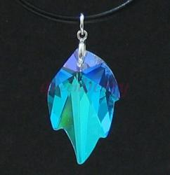 Shiny AB-coated Clear Swarovski Leaf Silver Pendant