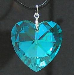 Large Shiny Aquamarine Swarovski Crystal Heart Pendant