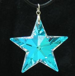 <i>LARGE</i> Clear AB-Coated Swarovski Star Silver Pendant