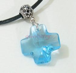 Rare Blue Cross Swareovski Crystal Silver Pendant