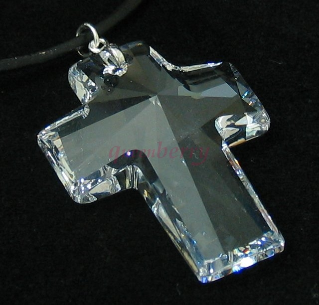 Queenberry clear large swarovski crystal cross pendant clear large swarovski crystal cross pendant aloadofball Choice Image