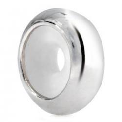 925 Sterling Silver Focal Round Stopper with Rubber Bead for Pandora