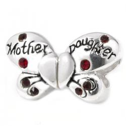 Sterling Silver Butterfly Mother Daughter Love Heart Red CZ Bead for Pandora Troll Chamilia Biagi European Charm Bracelet