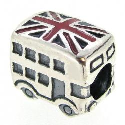 Sterling Silver London Bus Uk Britain Flag Enamel Bead for Pandora Troll Chamilia Biagi European Charm Bracelets