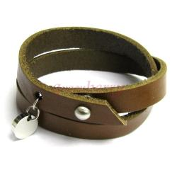 316L Stainless Steel Brown Flat Leather Cord 11mm Nail Clasp 2 Round Bracelets 8.5""