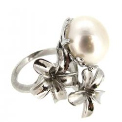 Sterling Silver Focal Flower Ring White Freshwater Cultured Pearl 12mm - 13mm w/ 2 Flowers Size Free