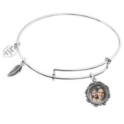 925 Sterling Silver Custom Photo Personalized Dangle Charm Adjustable Wire Bangle Bracelet