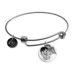 Qina C. Love You to the Moon and Back Personalized Photo Engrave Dangle Charm Adjustable Wire Bangle...