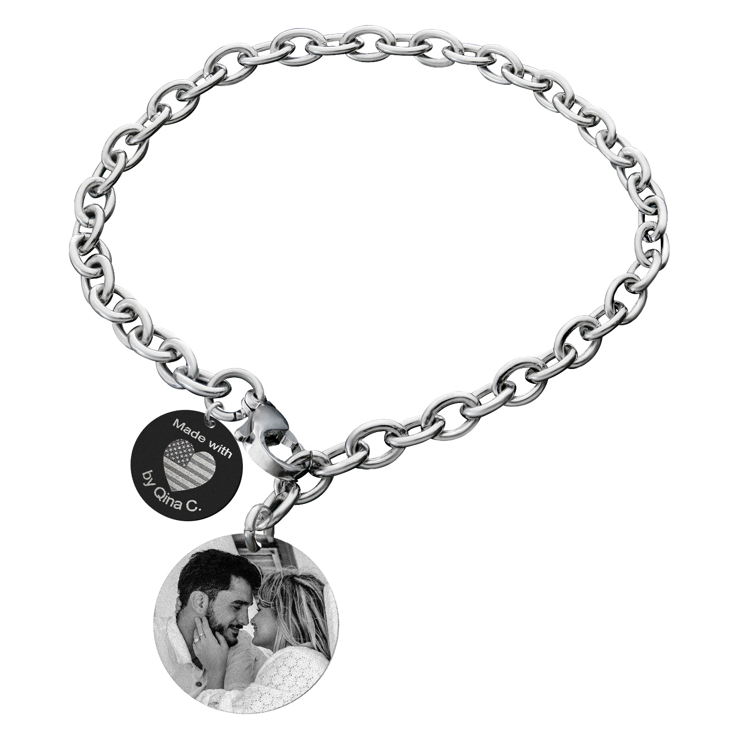 Qina C Family Tree Personalized Engraved Photo/text Stainless Steel Round Disc Tag Ajustable Chain Bracelet Anniversary Birthday Gift F/ Him Her