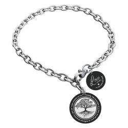 Qina C Family Tree Personalized Engraved Text Stainless Steel Round Disc Tag Ajustable Chain Bracelet Anniversary Birthday Gift F/ Him Her