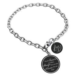 Qina C Braver Stronger Smarter Personalized Engraved Text Round Disc Tag Ajustable Chain Bracelet Anniversary Birthday Gift F/ Him Her