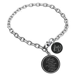 Qina C True Love Personalized Engraved Text Round Disc Tag Adjustable Chain Bracelet Anniversary Birthday Gift F/ Him Her