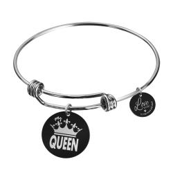 Qina C. Queen Crown Wife Engraved Round Disc Charm Adjustable Wire Bangle Bracelet