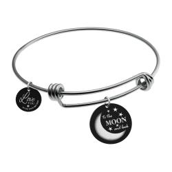Qina C. Love U to the Moon & Back Wife Engraved Round Disc Charm Adjustable Wire Bangle Bracelet