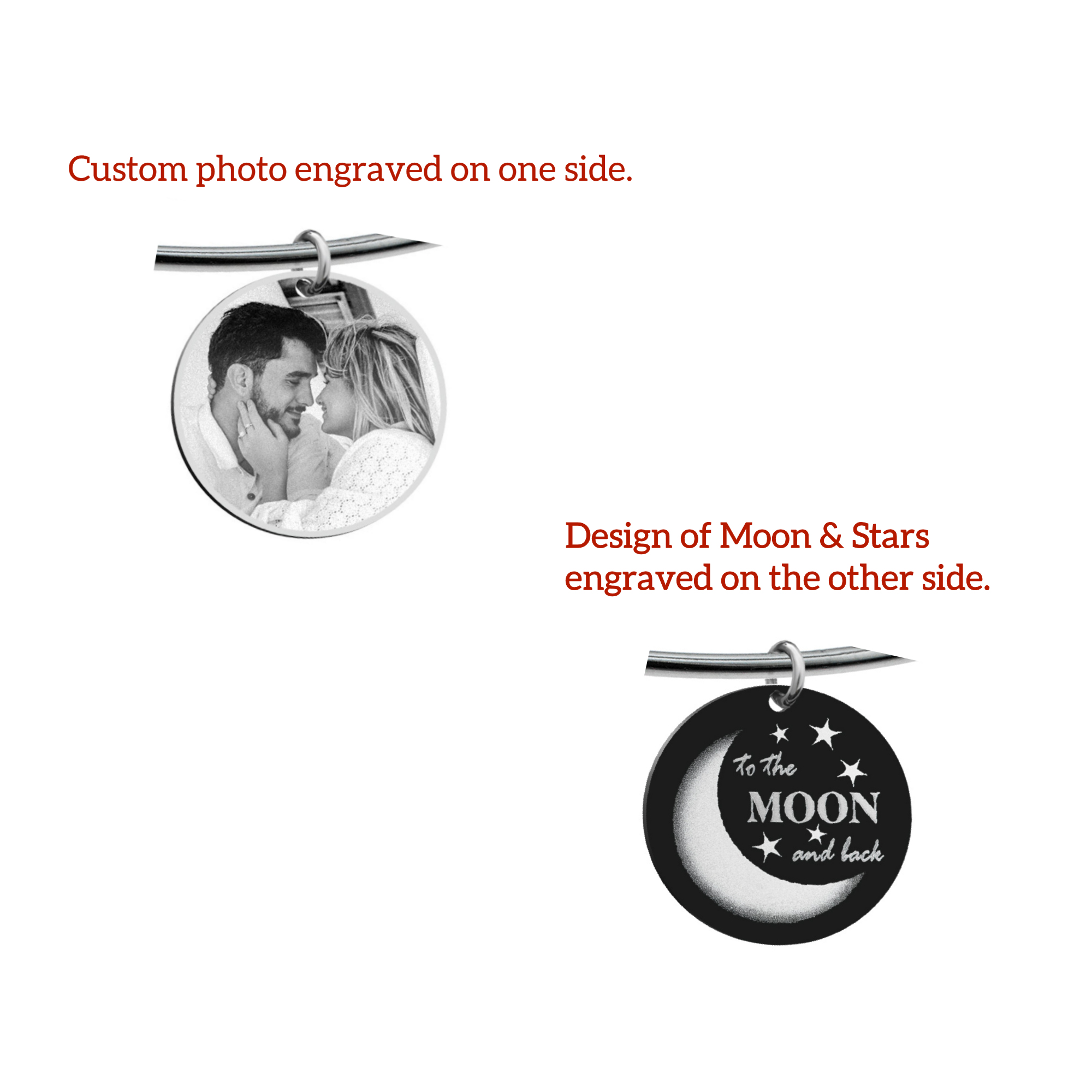 Qina C. Love U to the Moon & Back Wife Engraved Pesonalized Photo Round Disc Charm Adjustable Wire Bangle Bracelet