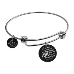 Qina C. To My Wife My Soulmate Engraved Round Disc Charm Adjustable Wire Bangle Bracelet