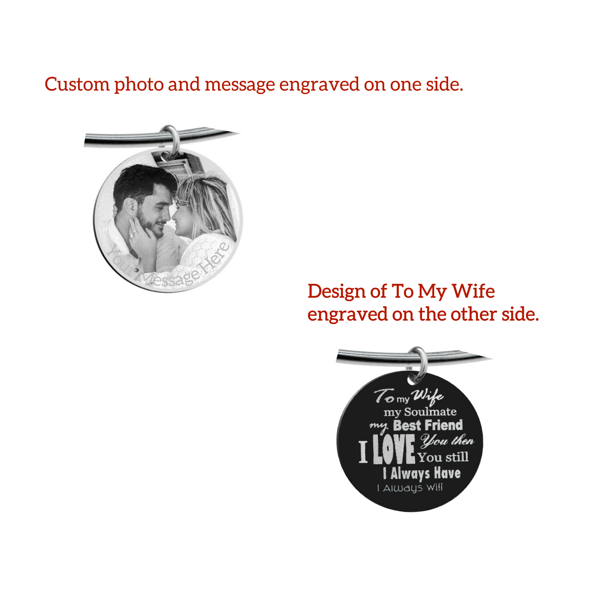 Qina C. To My Wife My Soulmate Engraved Pesonalized Photo and Message Round Disc Charm Adjustable Wire Bangle Bracelet