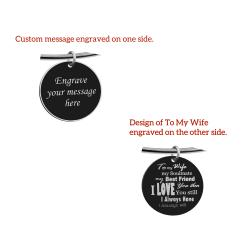 Qina C. To My Wife My Soulmate Engraved Pesonalized Message Round Disc Charm Adjustable Wire Bangle Bracelet