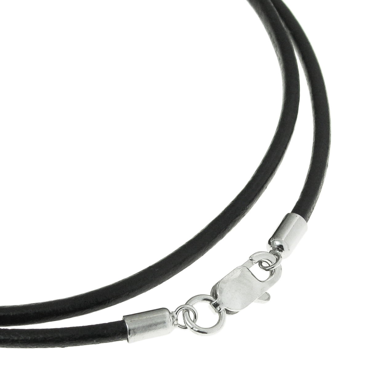 "Rhodium-plated Sterling Silver Black Genuine Leather 1mm Choker Necklace 16"" w/ Italian Lobster Clasp"