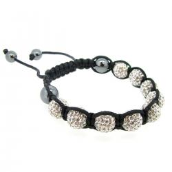 "Black Macrame Knotted Shamballa Clear CZ Crystal Hematite Ball Bead Adjustable Wristband Bracelet 7.5"" Birthstone April"
