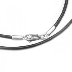 "Rhodium-plated Sterling Silver Black Genuine Leather 2mm Choker Necklace 16"" w/ Italian Lobster Clasp"