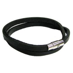 316L Stainless Steel 2 Rounds Black Flat Leather Cord 5mm Magnetic Wristband Bracelets 8""
