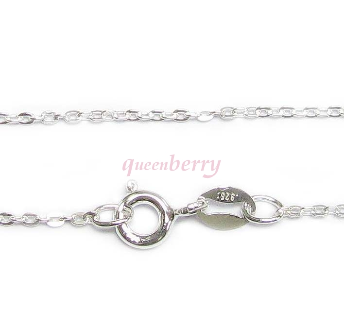 Italian Sterling Silver FLAT CABLE ROLO chain Necklace with spring clasp 18""