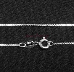 Italian Sterling Silver 0.9mm BOX Chain Necklace with spring clasp 18""