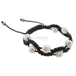 Black Macrame Knotted Coral Shamballa Clear Crystal Hematite Ball Bead Adjustable Wristband Bracelet 7.5""