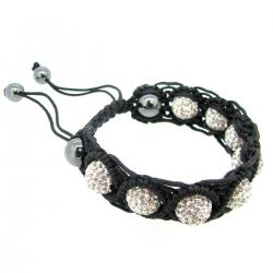 "Black Macrame Knotted Shamballa Clear CZ Crystal Hematite Ball Bead Adjustable Wristband Bracelet 7"" Birthstone April"