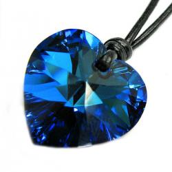 Swarovski Elements Crystal Bermuda Blue Love Heart  Pendant Adjustable Waxed Cotton Choker Necklace