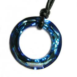 "Swarovski Crystal Bermuda Blue Angel Ring Pendant 20mm Black leather 1mm Choker Necklace 14"" 16"" 18"" 20"" 22"" 24"" Adjustable"