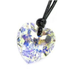 "Swarovski Crystal Clear AB Heart Pendant 18mm Black Leather 1mm Choker Necklace 14"" 16"" 18"" 20"" 22"" 24"" Adjustable"