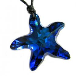 "Swarovski Crystal Bermuda Blue Star Fish 28mm Black leather 1mm Choker Necklace 14"" 16"" 18"" 20"" 22"" 24"" Adjustable"