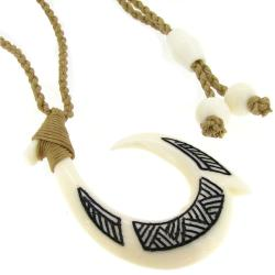 "White Pattern Buffalo Bone Arrow Hook Linen Braided Cord Choker Necklace 28"" Adjustable"