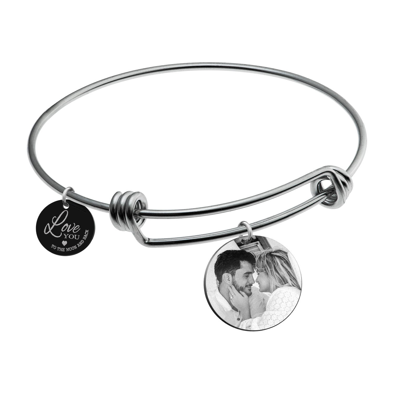 Qina C. Love You to the Moon and Back Personalized Photo Engrave Dangle Charm Adjustable Wire Bangle Bracelet Inspirational Gift