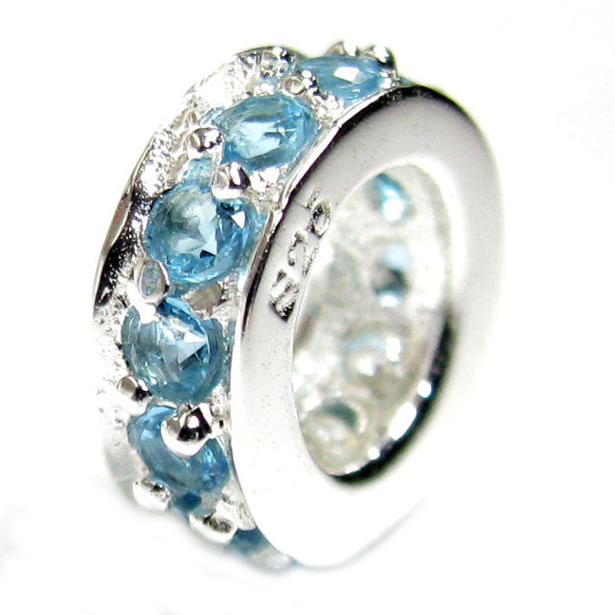 Queenberry Com Sterling Silver Round Ring Aquamarine Cz