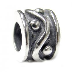 Sterling Silver Dot Wave Bead Charm for Pandora Troll  Chamilia Biagi European Jewelry