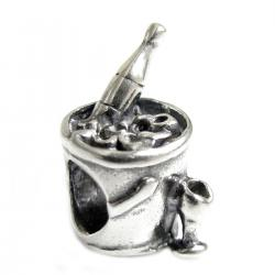 1x Sterling silver Champagne Wine Drink Bead for European Charm Bracelets