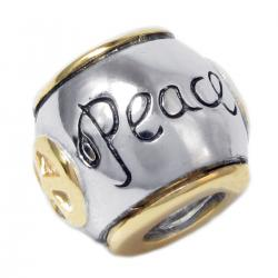 14K Gold Sterling Silver Peace Bead for European Charm Bracelets