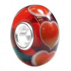 Valentines Sterling Silver Forever Love RED HEART Murano Glass Bead Compatible with Pandora European Charm Bracelets 12.5mm Single Core