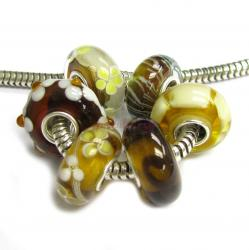 6pcs Sterling Silver Assorted Topaz Brown Yellow Flower Murano Bundle Glass Bead for European Charm Bracelets