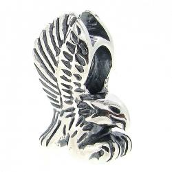 .925 Sterling Silver Flying Soaring Eagle European Bead Charm