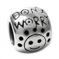 Sterling Silver Don't Worry Be Happy Smile Happy Face Bead for Pandora Troll Chamilia European Charm Bracelets
