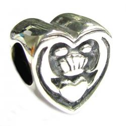 .925 Sterling Silver Celtic Friendship Claddagh Heart with Love Bead for Pandora Troll Chamilia Biagi European Charm Bracelets