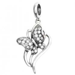 .925 Sterling Silver Butterfly Clear CZ Dangle Pendant Bead for European Charm Bracelets